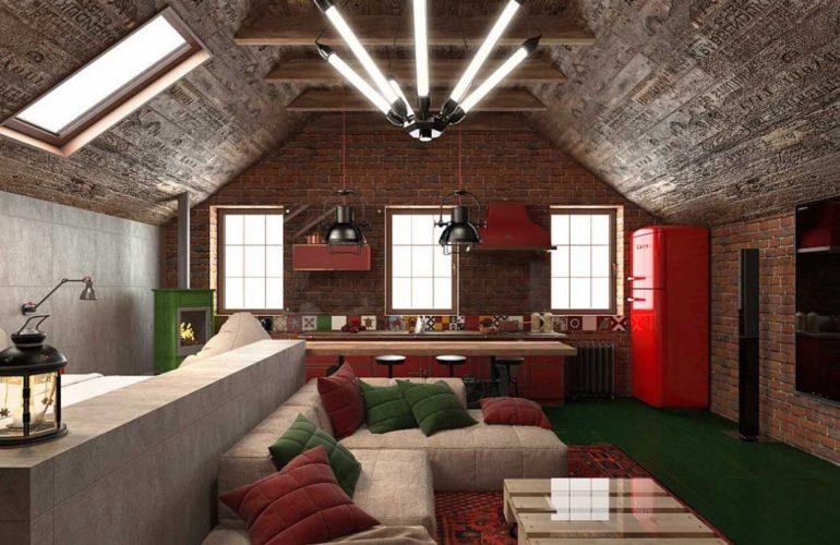 Интерьер гостиной в современном стиле с камином-буржуйкой