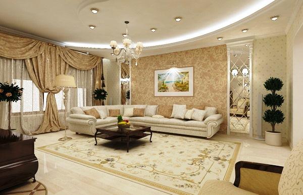 Просторная гостиная с комбинированными обоями в светлых тонах