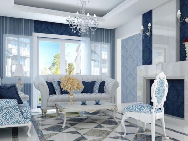 Комбинирование обоев синих оттенков в гостиной