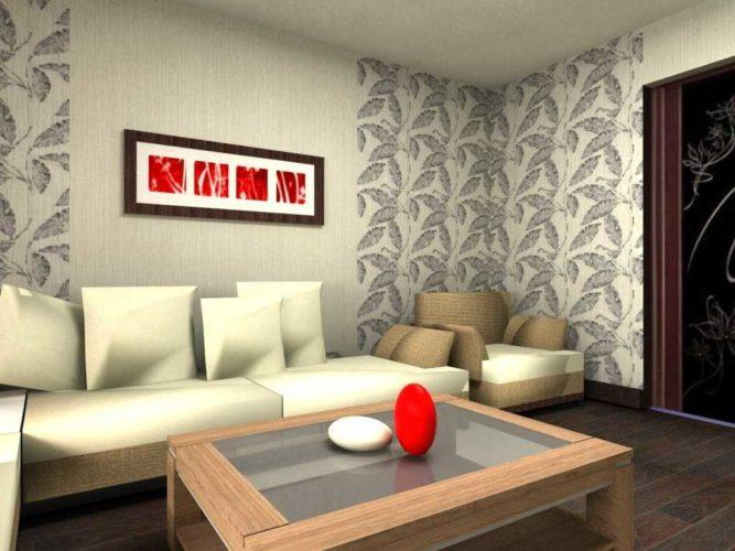 Комбинирование обоев в небольшой гостиной