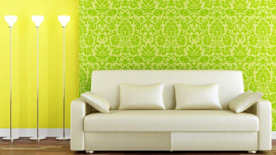 Вариант комбинирования обоев зеленого и желтого цвета в гостиной