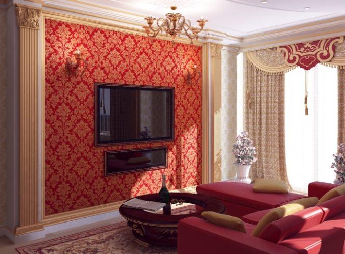Гостиная в красных тонах с комбинированными обоями