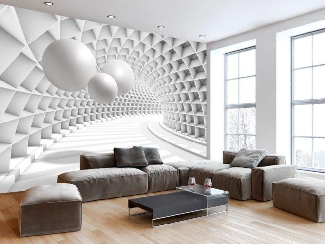 Интерьер просторной светлой гостиной с комбинированными обоями 3D