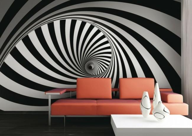 Комбинирование обоев с иллюзорным рисунком в гостиной