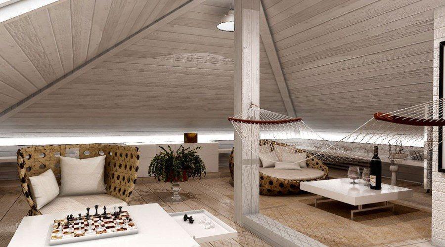Комната с гамаком с креслами в мансарде