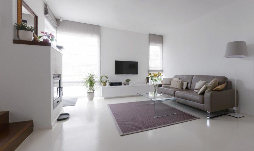 Дизайн гостиной с наливным полом