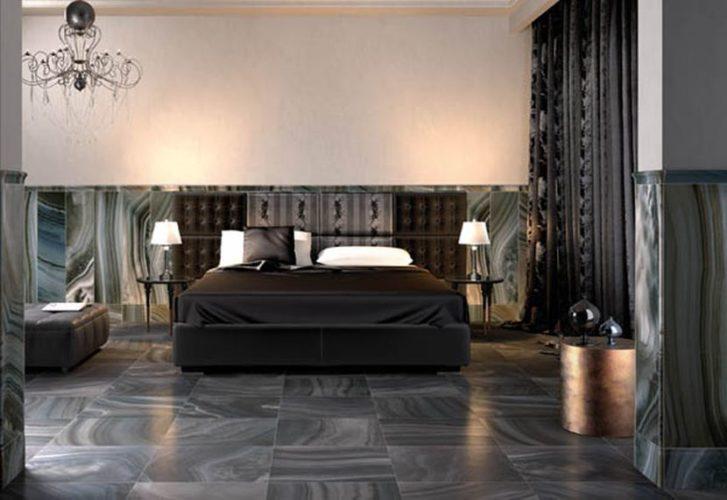 Дизайн пола из плитки в спальне