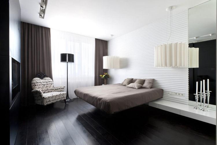 Дизайн темного пола в спальне