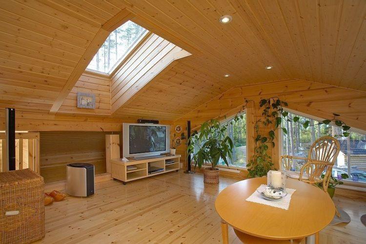 Интерьер большой гостиной в деревянном доме