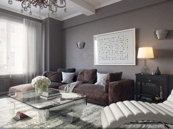 Интерьере небольшой гостиной в серых тонах