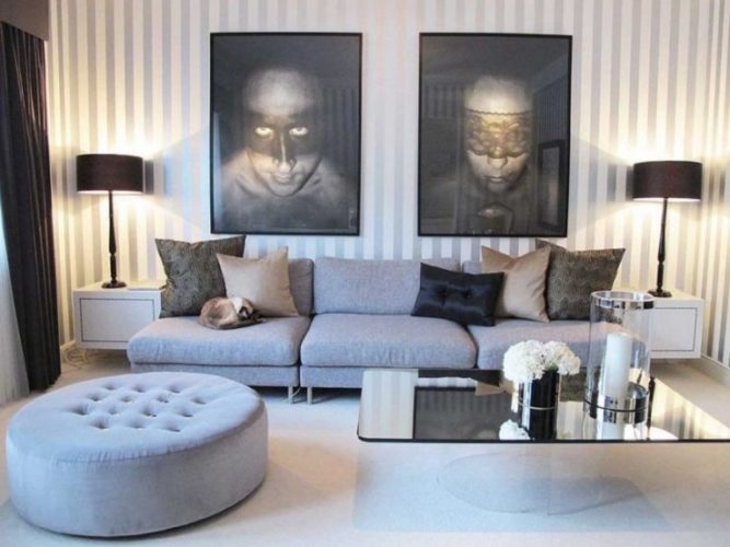 Интерьер гостиной в серых тонах