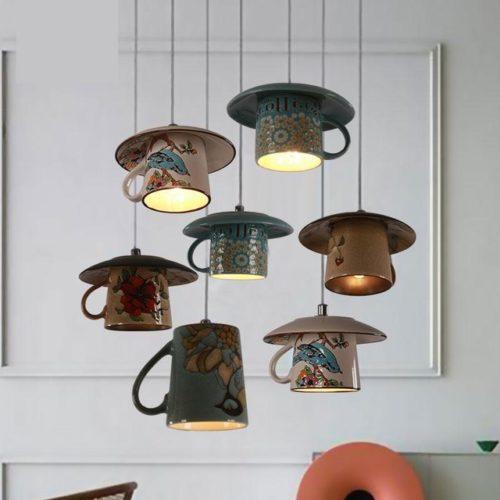 Подвесные светильники в виде чайных чашек