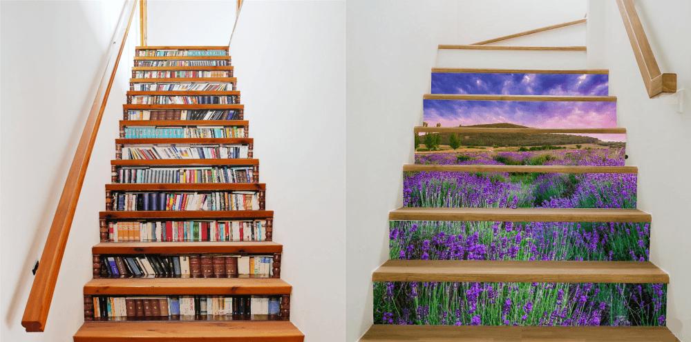 Лестница с наклейками