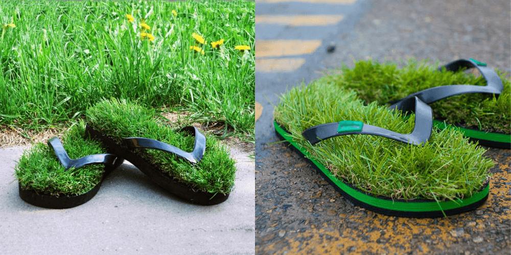 Необычные тапочки с травой
