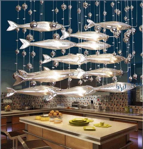 Подвесные светильники в виде рыб