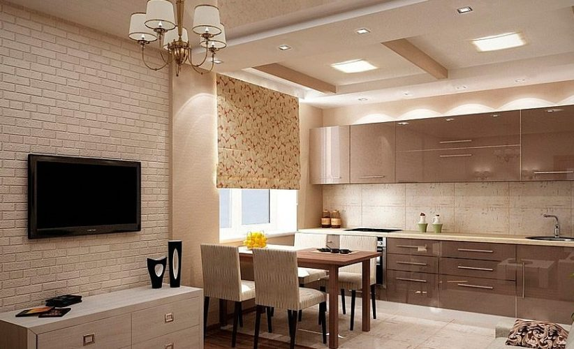 Дизайн кухни в бежевых тонах