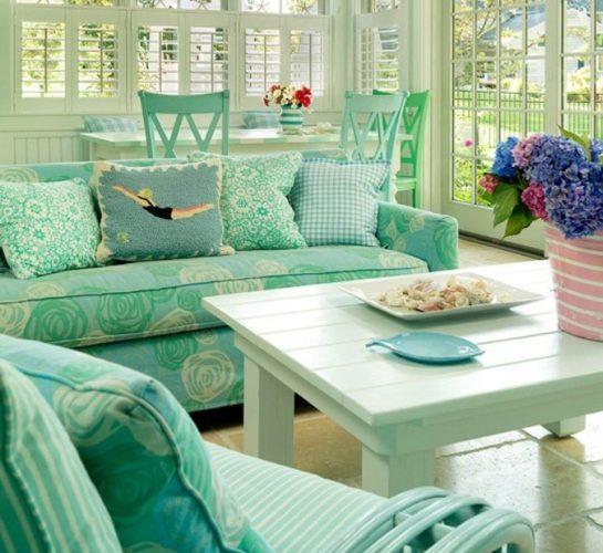 Дизайн гостиной в зеленых тонах