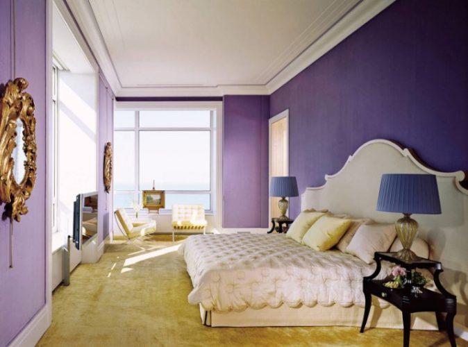 Дизайн спальни в фиолетовых тонах
