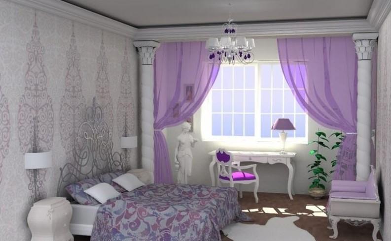 Спальня в фиолетовых тонах