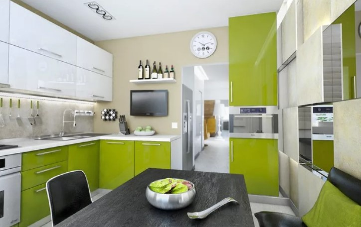 Интерьер кухни в зеленый тонах