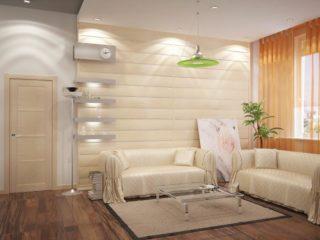 Стеновые панели в интерьере гостиной