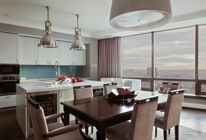 Дизайн кухни с панорамными окнами