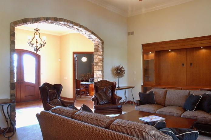 Дизайн гостиной с аркой