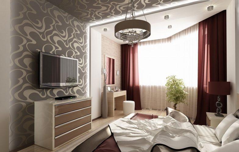 Дизайн спальни с эркером