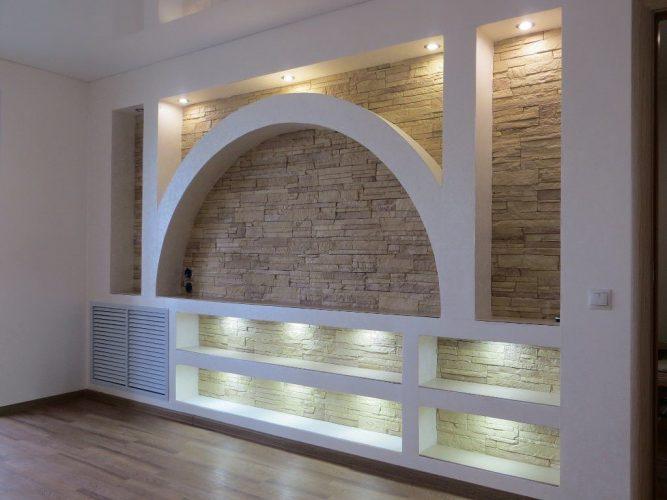 Декорирование стены гипсокартоном