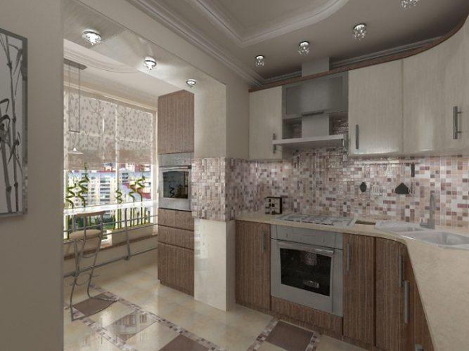 Дизайн кухни и лоджии в однокомнатной квартире 38 кв м
