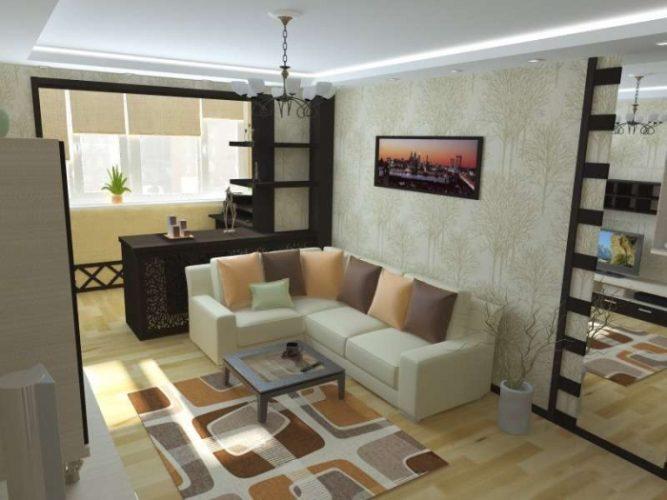 Дизайн гостиной и лоджии в однокомнатной квартире 38 кв м