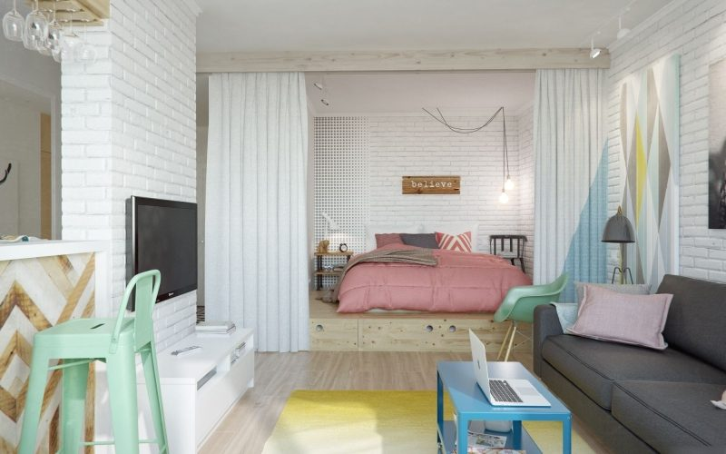 Планировка и дизайн однокомнатной квартиры 40 кв м