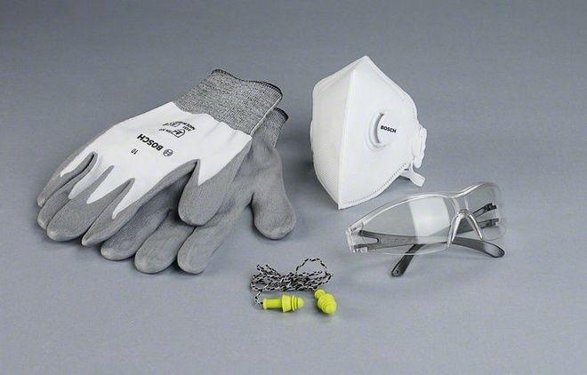 Перчатки, маска, очки, беруши для строителя