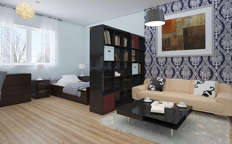 Спальня-гостиная, зонированная стеллажом