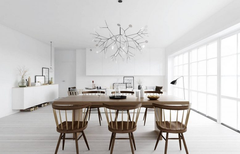 Просторная кухня-столовая в стиле минимализм