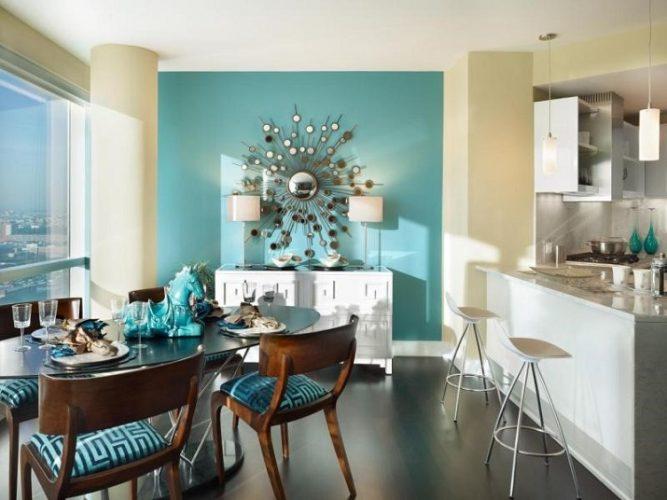 Кухня с голубыми деталями