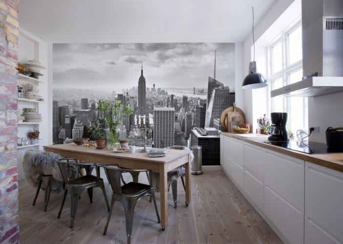 Чёрно-белые фотообои на кухне