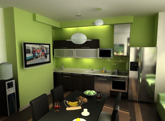 Стены на кухне, окрашенные в зелёный цвет