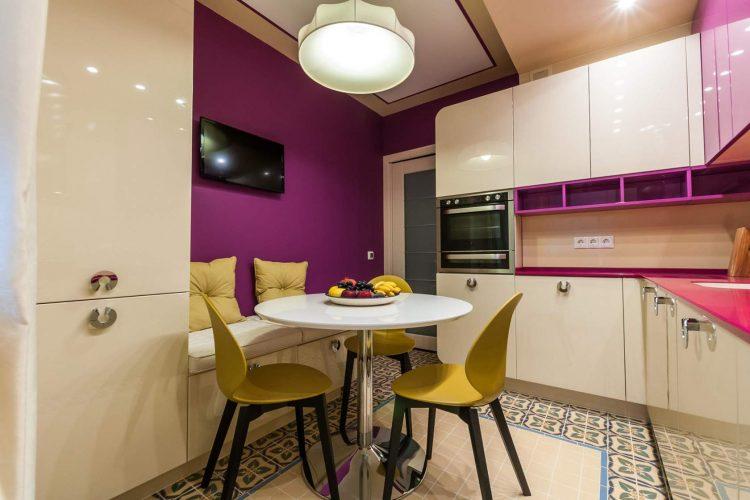 Контрастные стены на кухне