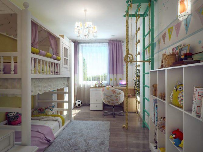 Раздельные кровати в детской комнате