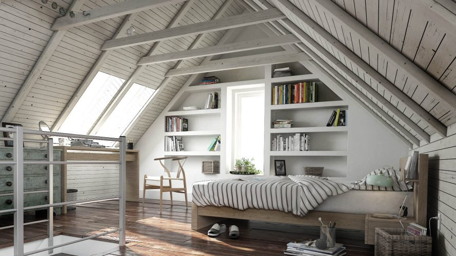 Спальня в доме в мансарде
