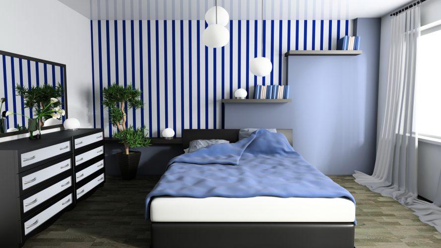 Графичный интерьер спальни