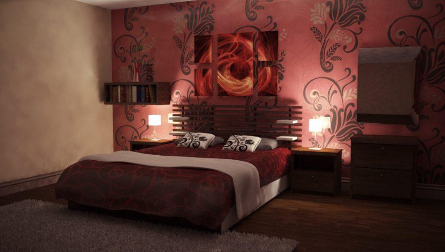 Спальня с обоями с крупным узором
