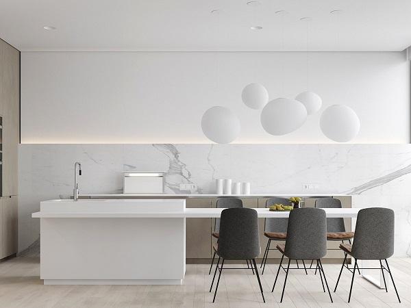 Каменный стол на кухне