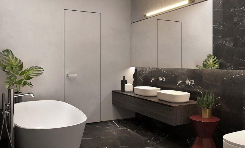 Ванная с использованием тёмных цветов в интерьере