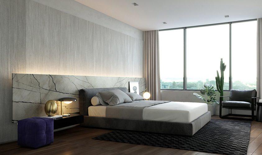 Спальня с использованием тёмных цветов в интерьере