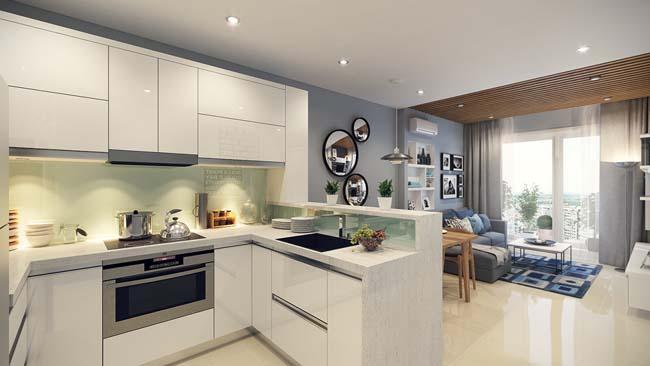 Вариант объединения кухни и гостиной