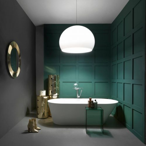 Ванная в тёмно-зелёных тонах
