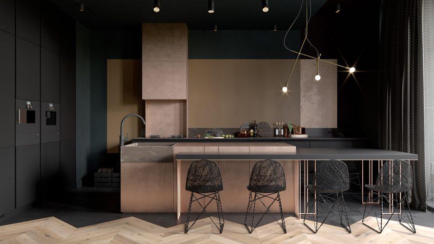 Тёмная кухня с акцентом в виде света и мебели светлого цвета