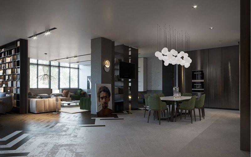 Квартира-студия в насыщенных тонах с акцентом на комбинированный контрастный пол и свет